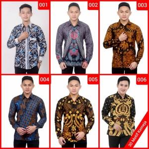 Harga baju kemeja batik slim fit pria lengan panjang kualitas mall   HARGALOKA.COM