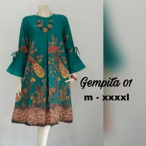 Harga nuuunbatik tunik gempita baju batik wanita jumbo   merah | HARGALOKA.COM