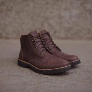 Harga sepatu boots kulit pria   sl pth dark brown series 0001   cokelat   HARGALOKA.COM