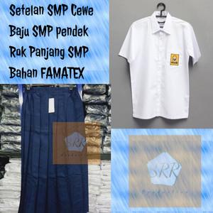 Harga seragam sekolah setelan smp rok sekolah biru putih panjang baju pendek   kls 1   HARGALOKA.COM