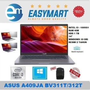 Harga laptop asus a409ja   i3 1005g1 4gb 1tb 14hd windows 10 backlit   bv312t | HARGALOKA.COM
