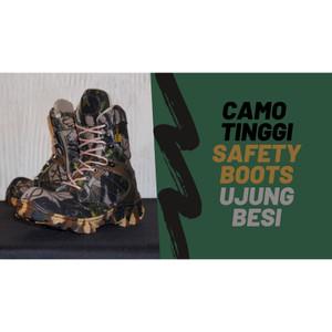Harga sepatu pria camo boots safety ujung besi bikers tentara pdl bikers   tinggi | HARGALOKA.COM