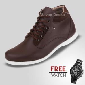 Harga sepatu casual pria s van decka j ty01k free jam tangan sport   cokelat | HARGALOKA.COM
