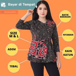 Harga dress baju atasan batik kerja kantor wanita cewek modern murah | HARGALOKA.COM