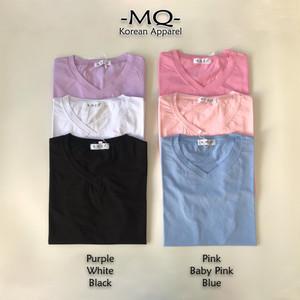 Harga kaos wanita import   atasan kaos polos v neck cewek premium quality   | HARGALOKA.COM