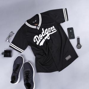 Harga baju baseball jersey baseball pria wanita   dodgers hitam terlaris   warna 01   HARGALOKA.COM