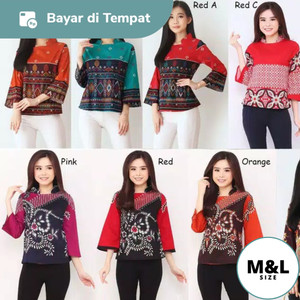 Harga dress baju atasan batik kerja kantor wanita cewek modern murah 0115   gambar | HARGALOKA.COM