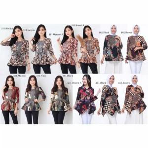 Harga dress baju atasan batik kerja kantor wanita cewek modern murah 0131   gambar | HARGALOKA.COM