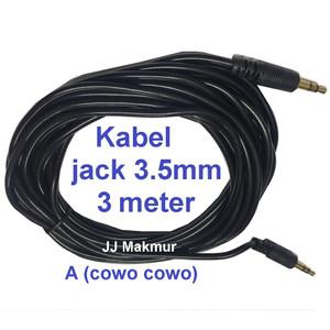 Harga kabel aux speker jack 3 5mm konektor 3m cable wire speaker jack 3 5 | HARGALOKA.COM