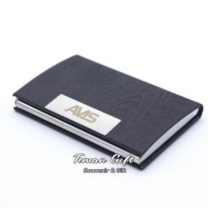 Harga name card holder nc 07 tempat kartu nama kulit stainless bisa custom   hitam tanpa | HARGALOKA.COM