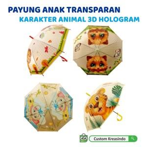 Harga payung anak karakter transparan motif kartun animal binatang 3d lucu     HARGALOKA.COM