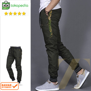 Harga celana joger pria list army joger army jogger pants   green army | HARGALOKA.COM