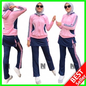 Harga 078 setelan senam wanita celana baju lengan panjang olahraga muslimah   pink navy | HARGALOKA.COM