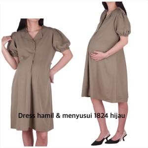 Harga dress hamil menyusui 1824 baju hamil   hijau | HARGALOKA.COM