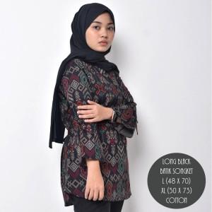Harga kemeja batik songket wanita batik cewek modern premium murah   hitam | HARGALOKA.COM