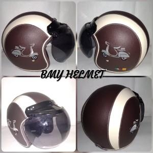Harga helm bogo retro dewasa motif bordir vespa   HARGALOKA.COM