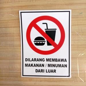 Harga sign sticker k3 rambu safety dilarang membawa makanan minuman | HARGALOKA.COM