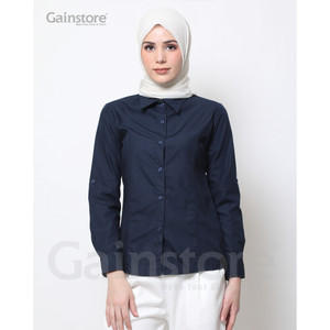 Harga kemeja polos wanita baju kantor lengan panjang atasan casual  navy   xxxl | HARGALOKA.COM