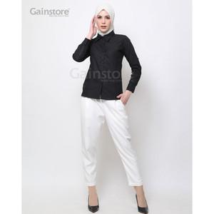 Harga kemeja polos wanita baju kantor lengan panjang atasan casual   hitam   hitam | HARGALOKA.COM