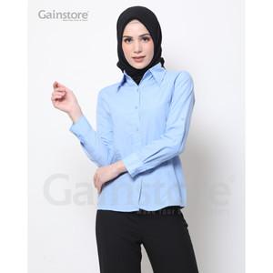 Harga kemeja polos wanita baju kantor lengan panjang atasan casual   blue   putih | HARGALOKA.COM