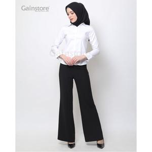 Harga kemeja polos wanita baju kantor lengan panjang atasan casual   white   putih | HARGALOKA.COM