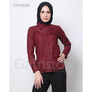 Harga kemeja polos wanita baju kantor lengan panjang atasan casual   maroon   white | HARGALOKA.COM