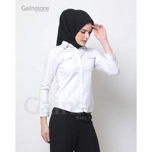 Harga kemeja putih polos wanita baju formal cewek baju kantor katun saku   putih | HARGALOKA.COM