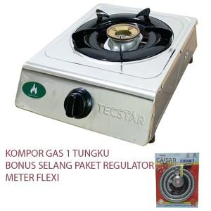 Harga kompor gas 1 tungku bonus selang gas paket regulator meter   | HARGALOKA.COM