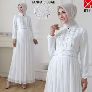 Harga agnes gamis putih wanita plisket brukat baju muslim murah terbaru 817   | HARGALOKA.COM