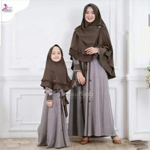 Harga setelan baju gamis syari couple mom kids mirable syari katun wolfis | HARGALOKA.COM