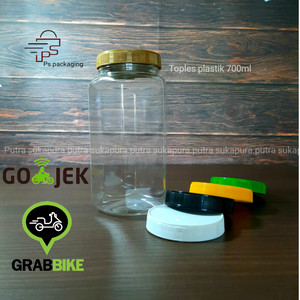 Harga toples 700 ml hexagonal khusus pengiriman gosend   | HARGALOKA.COM