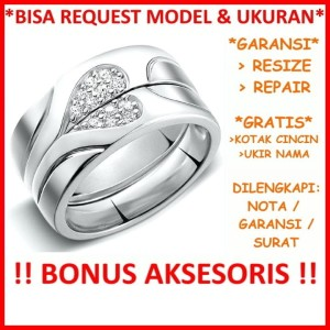 Harga cincin couple cincin silver 925 cincin perak tunangan ukir nama | HARGALOKA.COM
