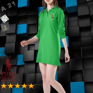 Harga tunik kaos kerah c15 40 hijau daun original polo country dress 7 | HARGALOKA.COM