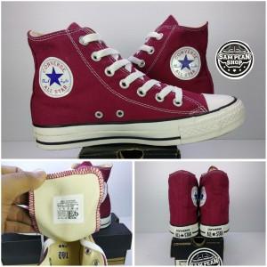 Harga sepatu converse all star classic high red maroon white original | HARGALOKA.COM