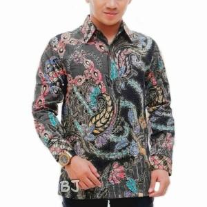 Harga kemeja batik tulis lengan panjang dengan furing istimewa vr0023   abu abu | HARGALOKA.COM