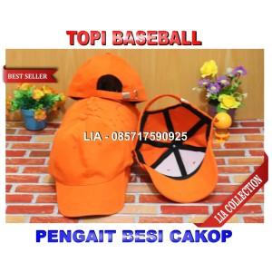 Harga topi baseball polos warna orange pengait besi | HARGALOKA.COM