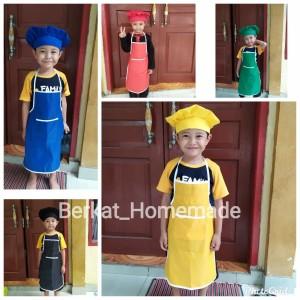 Harga celemek apron anak set plus topi koki bahan | HARGALOKA.COM