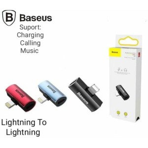 Harga baseus ip male to dual ip female converter iphone to aux charge | HARGALOKA.COM