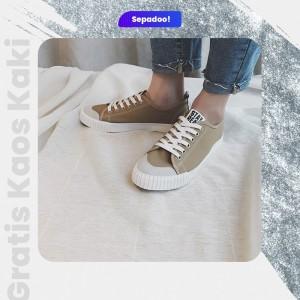 Harga sepadoo sepatu sneakers covs leather front khaki   | HARGALOKA.COM