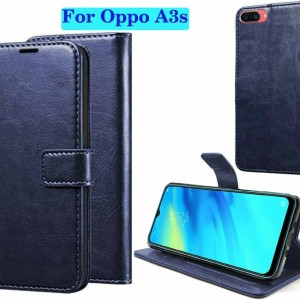 Harga flip cover wallet oppo a3s leather case cover | HARGALOKA.COM