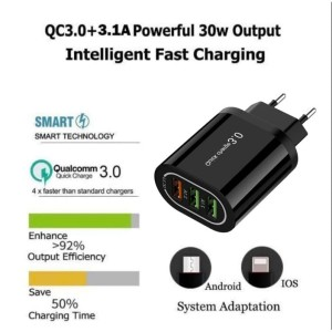 Harga qualcomm fast charger 3 port hp android iphone samsung xiaomi cas | HARGALOKA.COM
