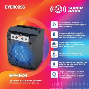 Harga mini bluetooth speaker evercoss es63 super bass portable speaker   HARGALOKA.COM