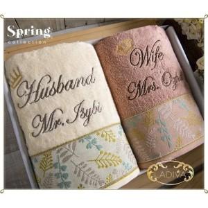 Harga handuk premium spring couple gift box set bordir free kartu   HARGALOKA.COM
