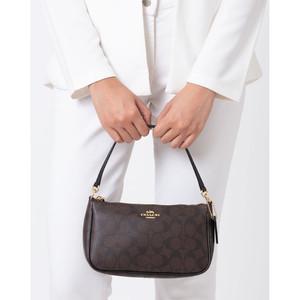 Harga coach top handle pouch in signature brown black   original 100 | HARGALOKA.COM