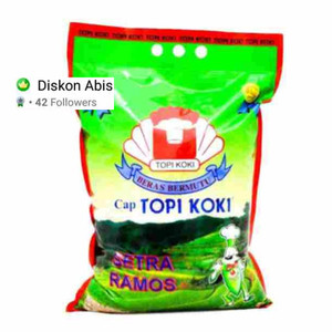 Harga beras topi koki setra ramos 10 kg kirim via gosend   HARGALOKA.COM