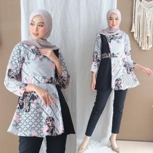 Harga baju batik wanita rere blus lonceng nuuunbatik modern   mocca | HARGALOKA.COM