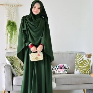 Harga gamis nadha set khimar cantik gamis murah baju pengajian gamis pesta   | HARGALOKA.COM