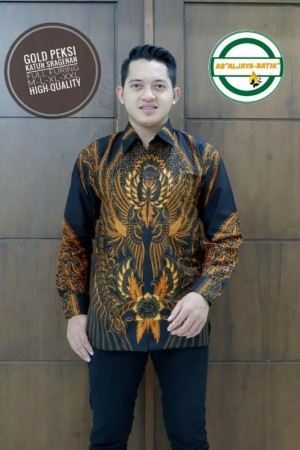 Harga gold peksi kemeja batik pria panjang full furing by   HARGALOKA.COM