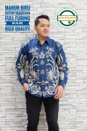 Harga manuk bbiru kemeja batik pria panjang full furing by   HARGALOKA.COM