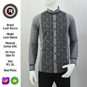Harga kemeja koko keren modern baju muslim pria luigi riccio maret 2020   abu abu | HARGALOKA.COM